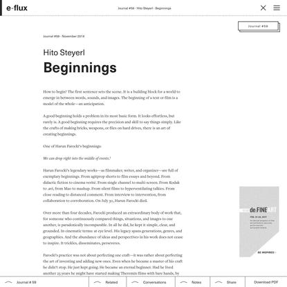 Beginnings - Journal #59 November 2014 - e-flux