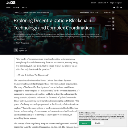Exploring Decentralization: Blockchain Technology and Complex Coordination · Journal of Design and Science
