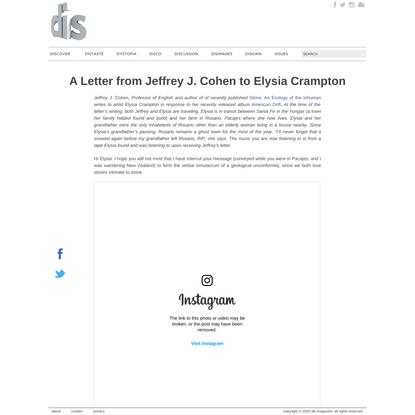 A Letter from Jeffrey J. Cohen to Elysia Crampton