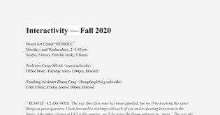Interactivity - Fall 2020