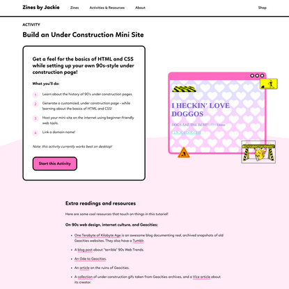 ♡ Build an Under Construction Mini Site ♡ - Zines by Jackie