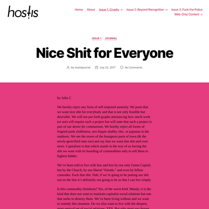 Nice Shit for Everyone - Hostis Journal