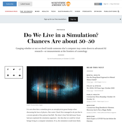 Do We Live in a Simulation? Chances Are about 50–50