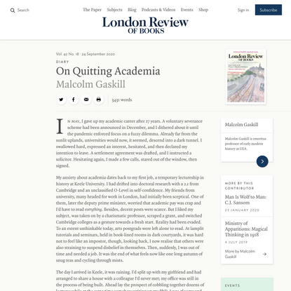 Malcolm Gaskill · Diary: On Quitting Academia · LRB 24 September 2020
