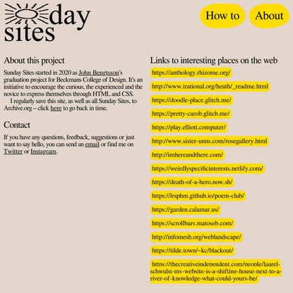 Sunday Sites – About