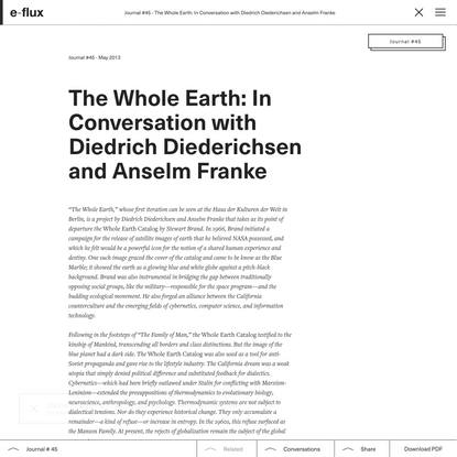 The Whole Earth: In Conversation with Diedrich Diederichsen and Anselm Franke