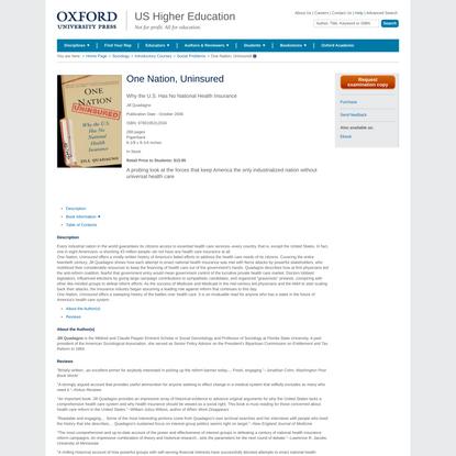 One Nation, Uninsured - Paperback - Jill Quadagno - Oxford University Press