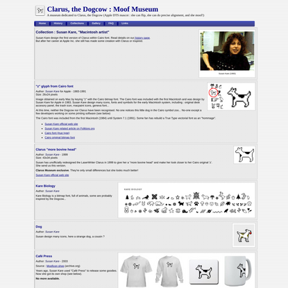 Clarus the DogCow Museum - Susan Kare Collection
