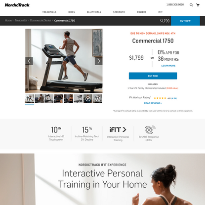 Commercial 1750 iFit Treadmill | NordicTrack