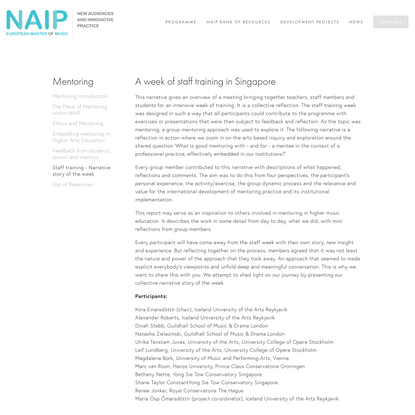 Staff training - Narrative story of the week — NAIP European Master of Music