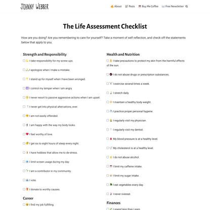 The Life Assessment Checklist - Johnny Webber