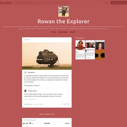 Rowan the Explorer — dequalized: An abandoned potato sorting station...