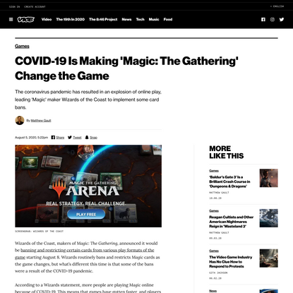 COVID-19 Is Making 'Magic: The Gathering' Change the Game