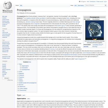 Prosopagnosia - Wikipedia