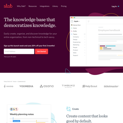 Slab - Knowledge Base & Wiki That Democratizes Knowledge