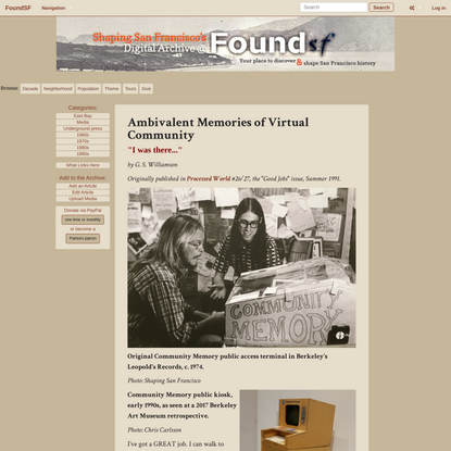 Ambivalent Memories of Virtual Community - FoundSF