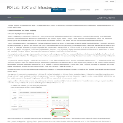 FDI Lab - SciCrunch Infrastructure | Curation Guidelines