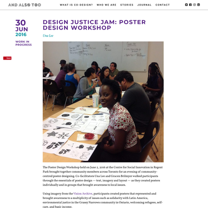 Design Justice Jam: Poster Design Workshop – And Also Too