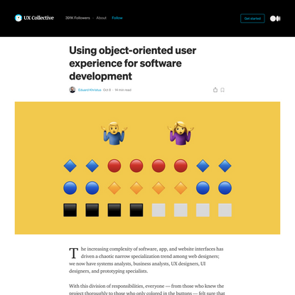 Using object-oriented user experience for software development