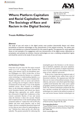 Where Platform Capitalism and Racial Capitalism Meet: The Sociology of Race and Racism in the Digital Society - Tressie McMillan Cottom