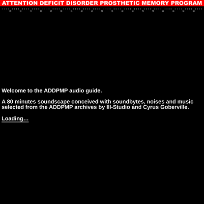 Audioguide   Attention Deficit Disorder Prosthetic Memory Program