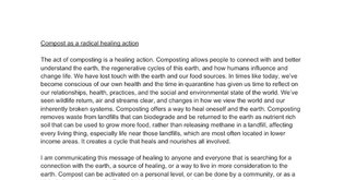 Compost as act of radical healing
