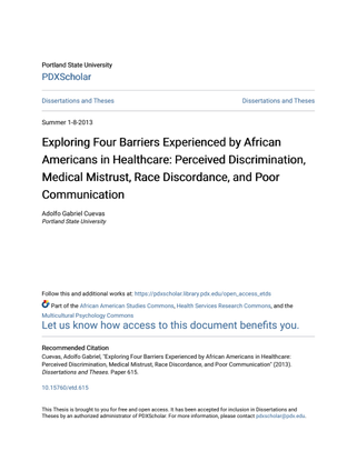 Exploring Four Barriers Experienced by African Americans in Healthcare