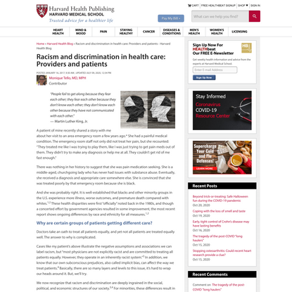 Racism and discrimination in health care: Providers and patients - Harvard Health Blog
