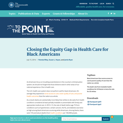 Closing the Equity Gap in Health Care for Black Americans | Commonwealth Fund
