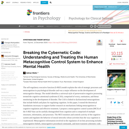 Breaking the Cybernetic Code: Understanding and Treating the Human Metacognitive Control System to Enhance Mental Health