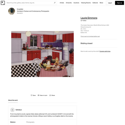 Laurie Simmons   The Instant Decorator (Red & White Kitchen) (2001)   Artsy