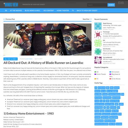 All Deckard Out: A History of Blade Runner on Laserdisc