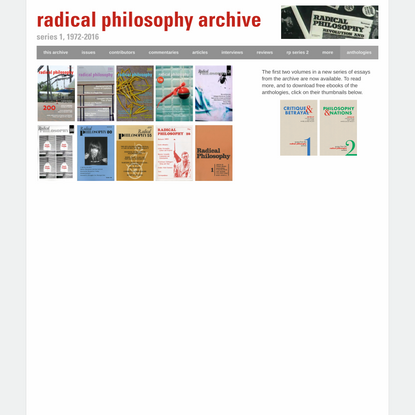 RPa - Radical Philosophy Archive, 1972-2016