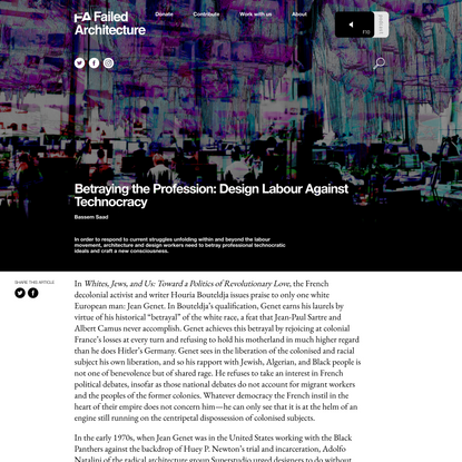 Betraying the Profession: Design Labour Against Technocracy - Failed Architecture