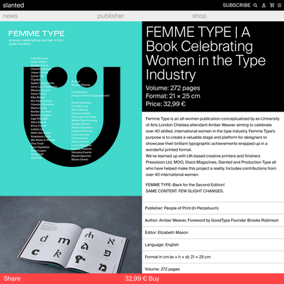 FEMME TYPE   A Book Celebrating Women in the Type Industry - slanted