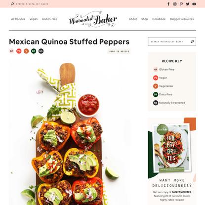Mexican Quinoa Stuffed Peppers   Minimalist Baker Recipes