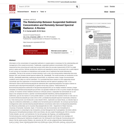 The Relationship Between Suspended Sediment Concentration and Remotely Sensed Spectral Radiance: A Review on JSTOR