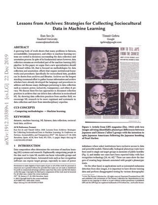 Lessons from Archives: Strategies for Collecting Sociocultural Data in Machine Learning