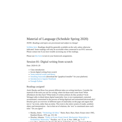 Material of Language (Schedule Spring 2020)