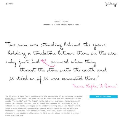 Mister K Pro typeface family