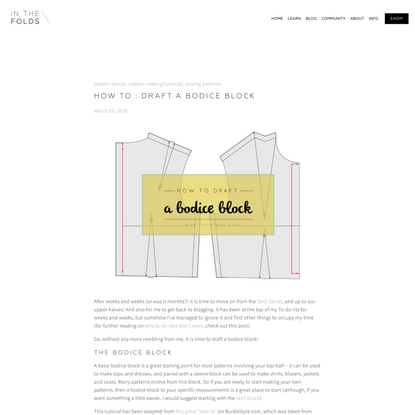 How to : Draft a bodice block — In the Folds