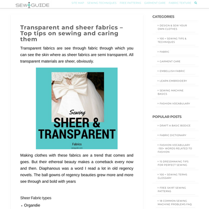 Transparent and sheer fabrics - Top tips on sewing and caring them - Sew Guide