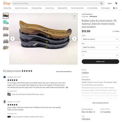 Rubber soles for men's shoes TR material Soles for   Etsy