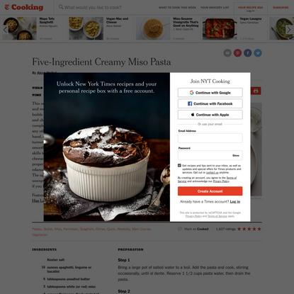 Five-Ingredient Creamy Miso Pasta Recipe