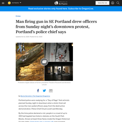 Man firing gun in SE Portland drew officers from Sunday night's downtown protest, Portland's police chief says