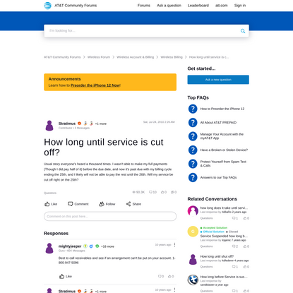 How long until service is cut off? | AT&T Community Forums