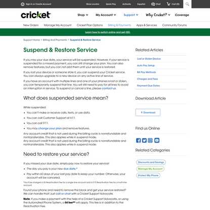Suspend & Restore Service | Billing & Payments | Cricket