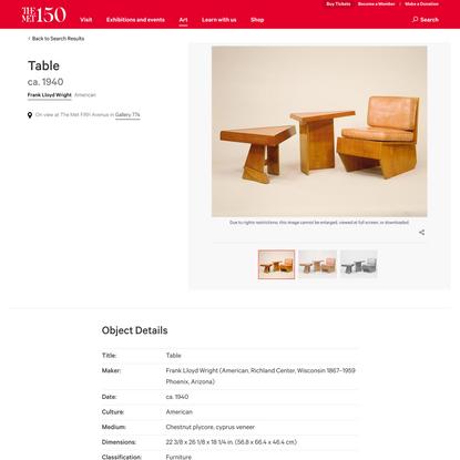 Frank Lloyd Wright | Table | American | The Met