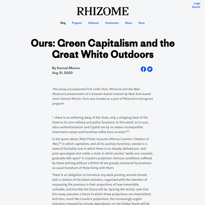 Ours: Green Capitalism and the Great White Outdoors