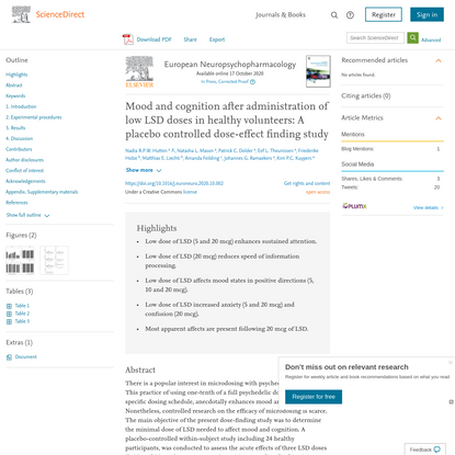 Mood and cognition after administration of low LSD doses in healthy volunteers: A placebo controlled dose-effect finding study - ScienceDirect